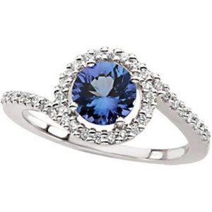 Genuine Ceylon Sapphire & Diamond Ring